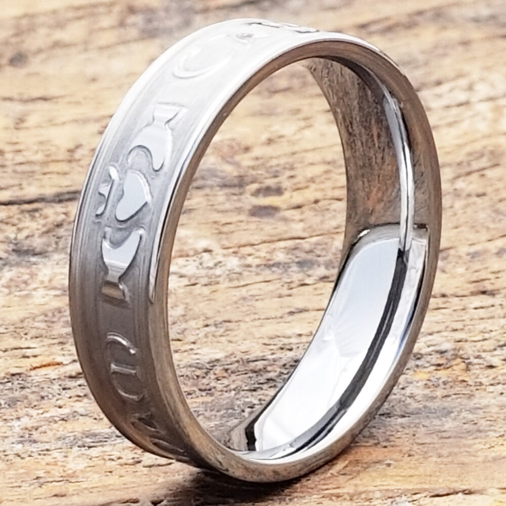 Claddagh Wedding Band, Carved Ring, Signet Matching Rings, Celtic Mo Anam Cara Womens Sculpted Jewelry Gift
