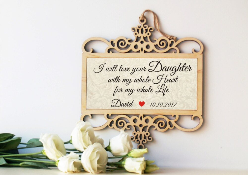 Wedding Sign, Mother Of The Bride Gift, Parents Gift From Groom, in Law Father Bride Wood Sign