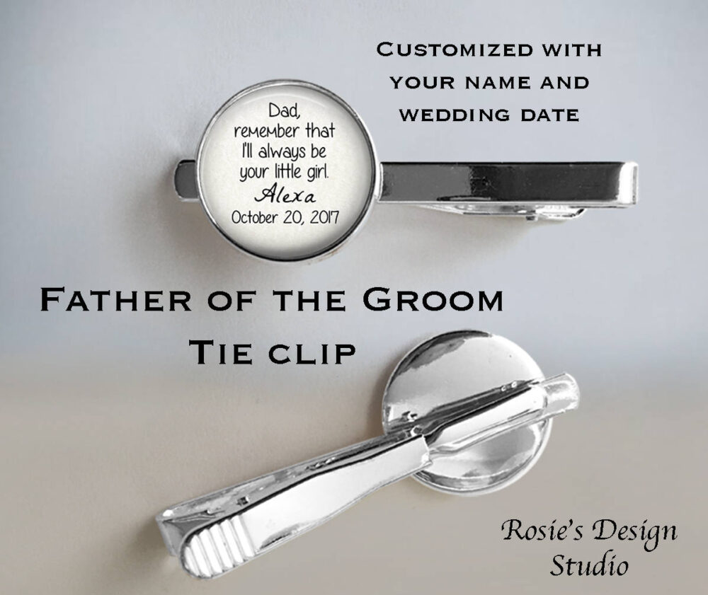 Father Of The Bride Tie Clip - Wedding Photo Cuff Links Father Bride Gift Always Be Your Little Girl