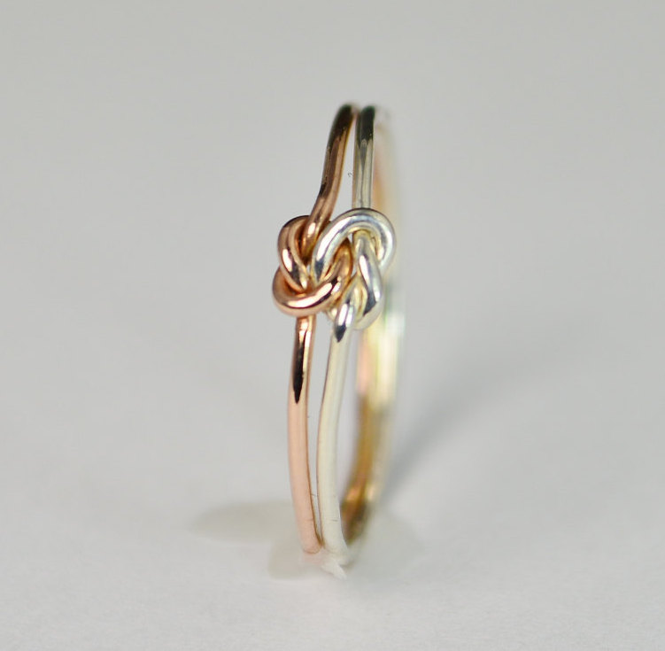 Dainty Silver & Rose Gold Double Knot Ring, Love Bff Bridal Promise Mother Daughter Ring