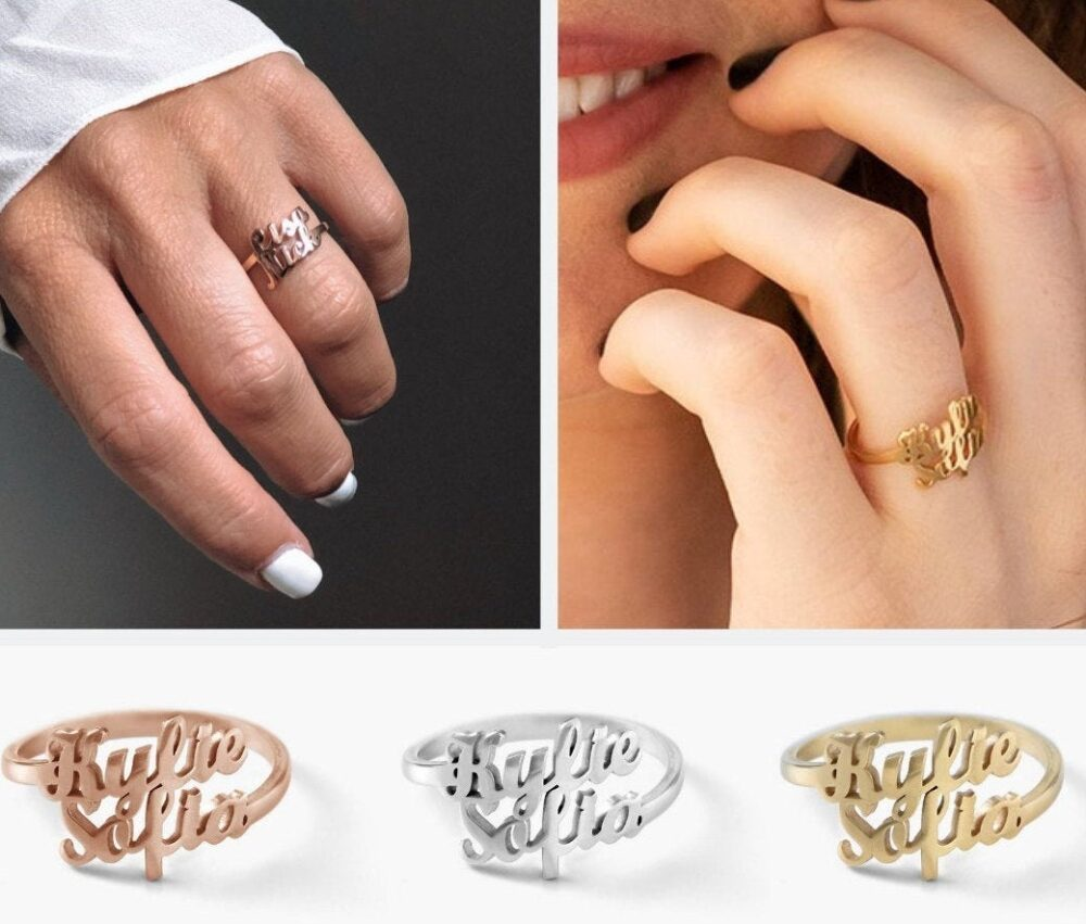 Double Two Name Ring• Custom Personalized Ring Sterling Silver 925• New Bride Gift • Daughter Ring•multiple 925 Names
