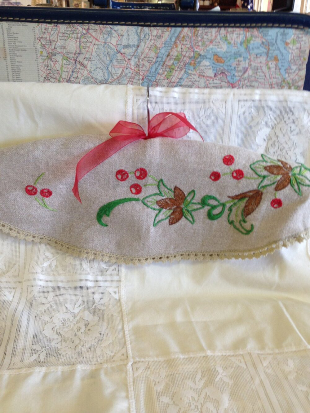 Beautiful Hand Embroidery Clothes Hanger Cover Double Sided Linen & Lace Trim