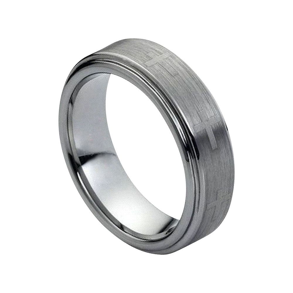 Tungsten Wedding Band Cross Ring Mens 7mm Engagement Brushed Silver Carbide Man Stepped Edges Promise