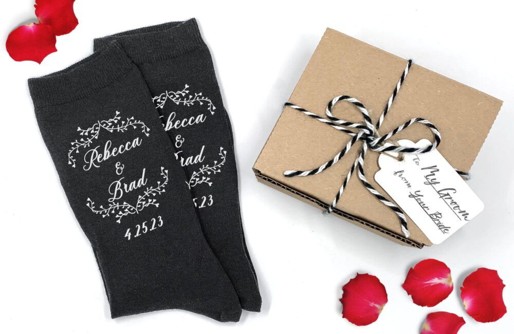 Groom Gift From Bride, Personalized Gift Socks, Wedding Socks For The Groom, Customized On Day