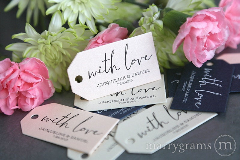 Favor Tags - With Love From The Bride & Groom Wedding Script W. Names, Date Silver, Gold, Pink, Navy, Blush Bulk Listing