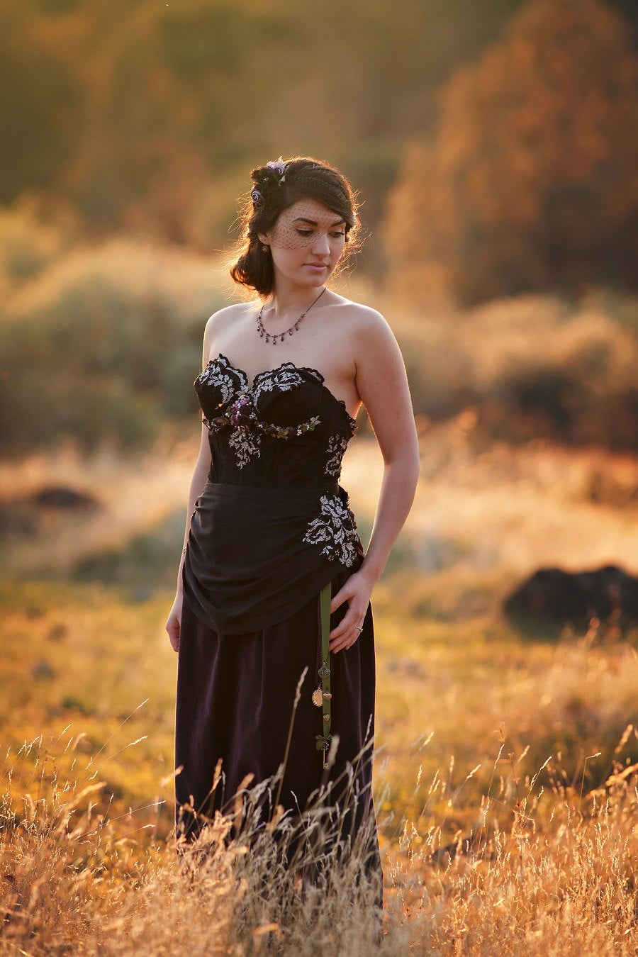 Ready To Ship~Black Lace Wedding Gown, Black & Purple Velveteen Gothic Romantic Reception Gown