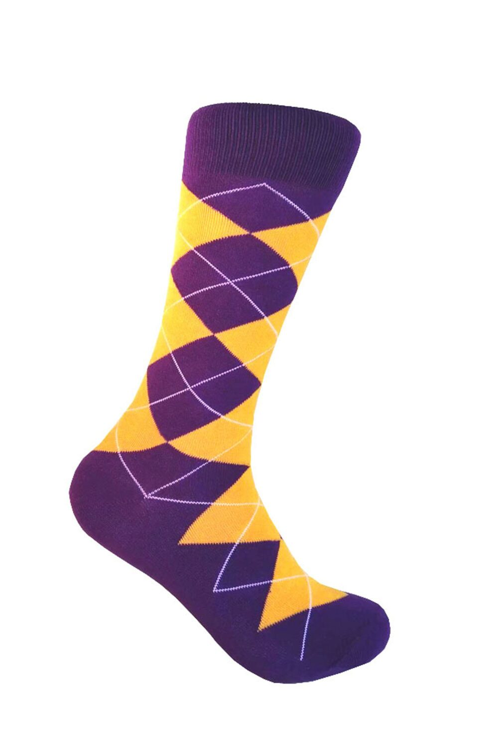 Men's Purple With Gold Yellow Color Argyle Mid-Calf Wedding Party Event Groomsman Giftable Dress Socks