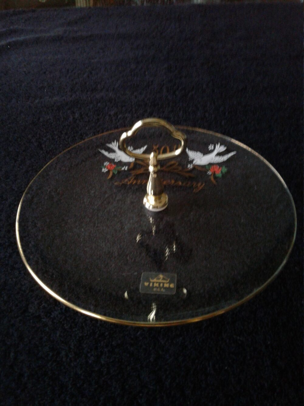 Vintage Viking 50Th Anniversary Serving Dish, Brass-Tone Handle, Love Doves & Roses, Made in Usa, Excellent Condition