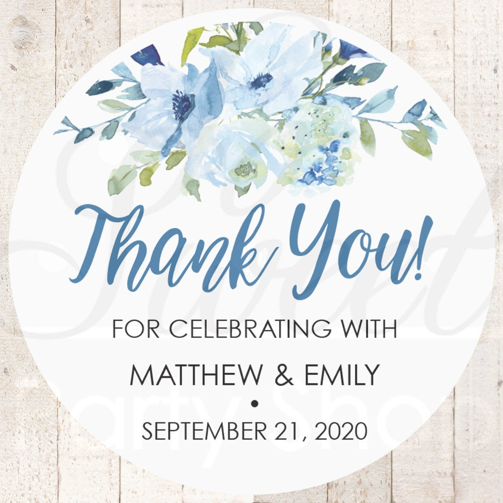 Wedding Favor Stickers, Thank You Sticker Labels, Bridal Shower Favors Blue Floral - Set Of 24 Stickers