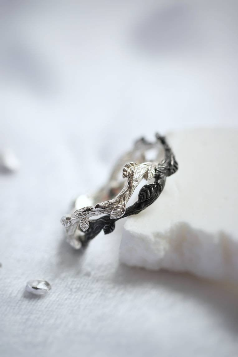 Branch Wedding Silver Rings, Day & Night Jewelry, Black White Leaves Woman Man Band, Blackening Light Solid Sterling