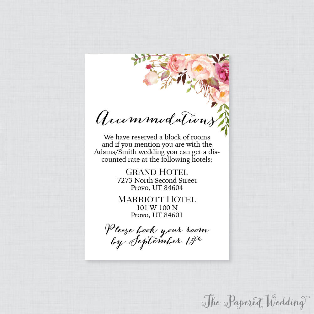 Printable Or Printed Wedding Accommodation Cards - Pink Floral Inserts Rustic Flower Details Invitation Insert 0004
