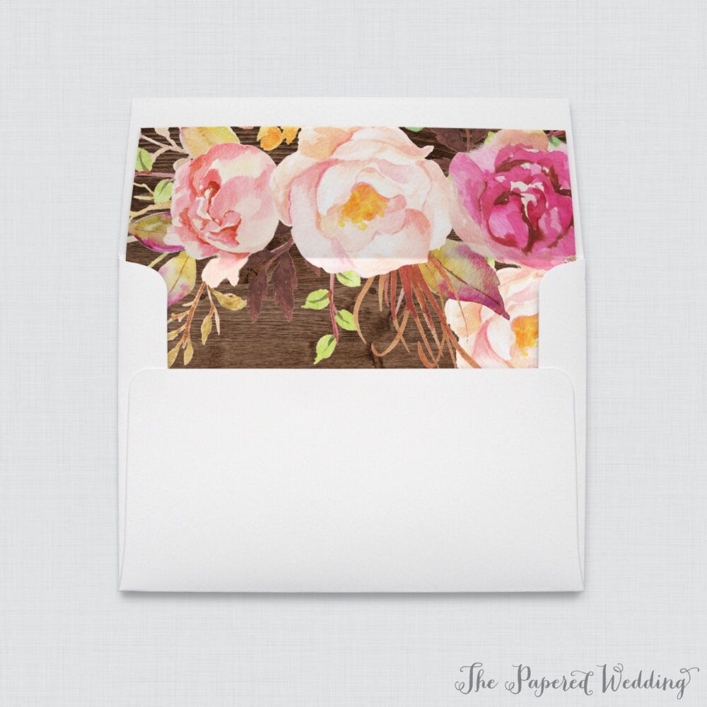 Rustic Wedding Envelopes With Liners - White A7 Wood & Pink Flower Envelope Liners, Floral 0004-B