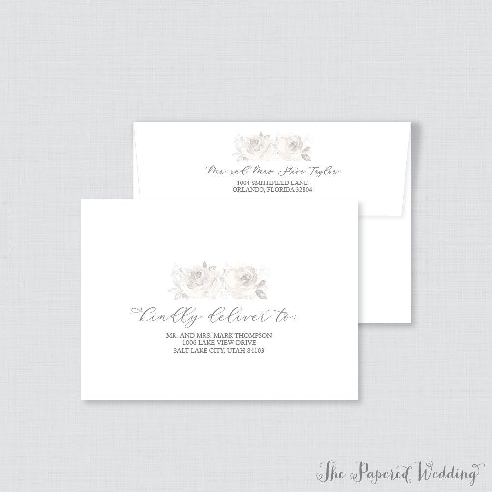 Wedding Envelopes - With Gray Flowers & Calligraphy, Grey Floral Name Address, Custom Printed 0015