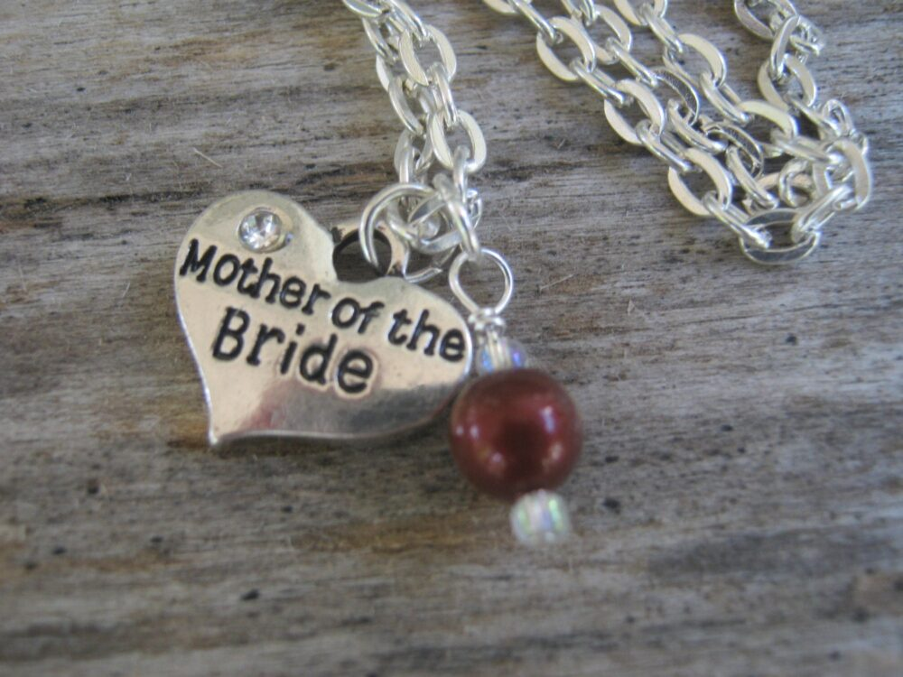 Mother Of The Bride Necklace, Pearl Jewelry, Personalized Wedding Heart Bridal Choose Your Color