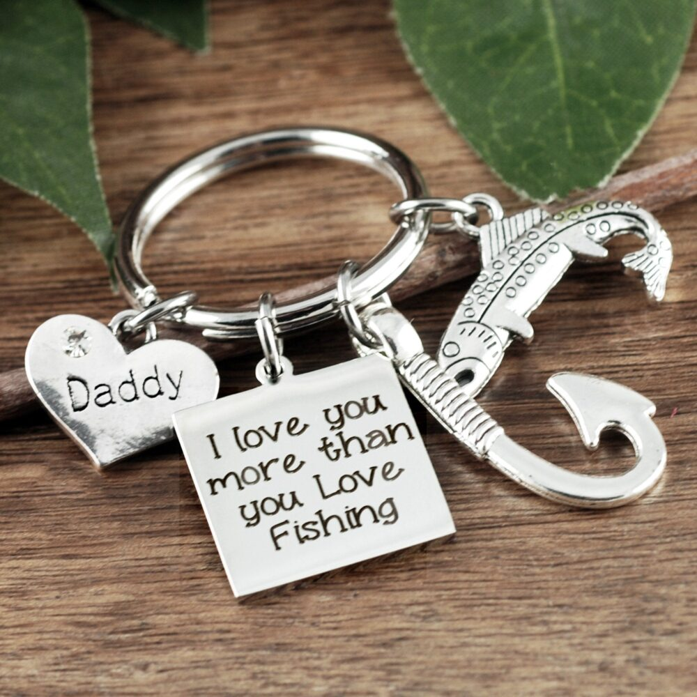 Fishing Keychain For Dad, Dad Gift, Daddy Personalized Keychain, Gift Father's Day Fish Hook