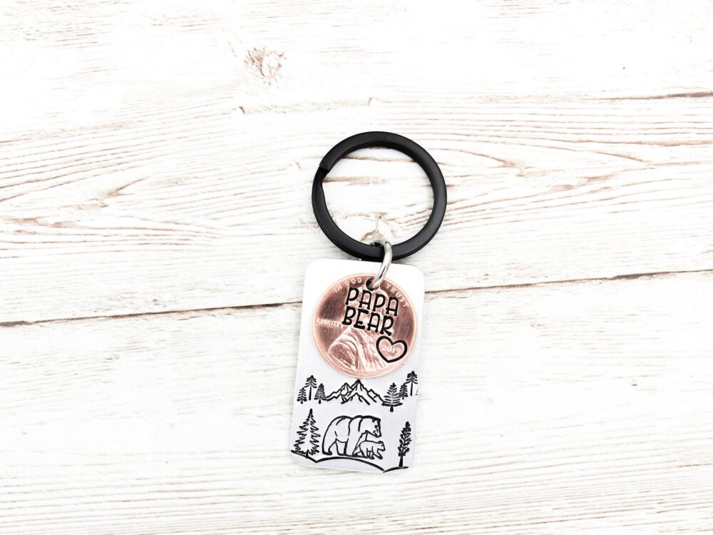 Papa Bear Keychain, New Dad Keyring, Daddy Father Gifts, Penny Keychains, Gift For Husband, 1st Time Gift, Key Ring