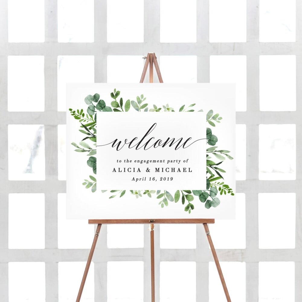 Engagement Party Decorations, Welcome Sign, Signs Printable, Greenery Decor