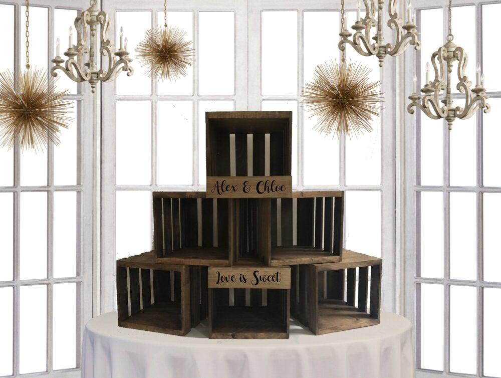Rustic Wedding Cupcake Stand, Crate Wood Stand