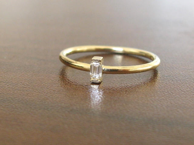 Baguette Ring Engagement Diamond Yellow Gold, Wedding Ring, Band, Engagement, Promise Anniversary