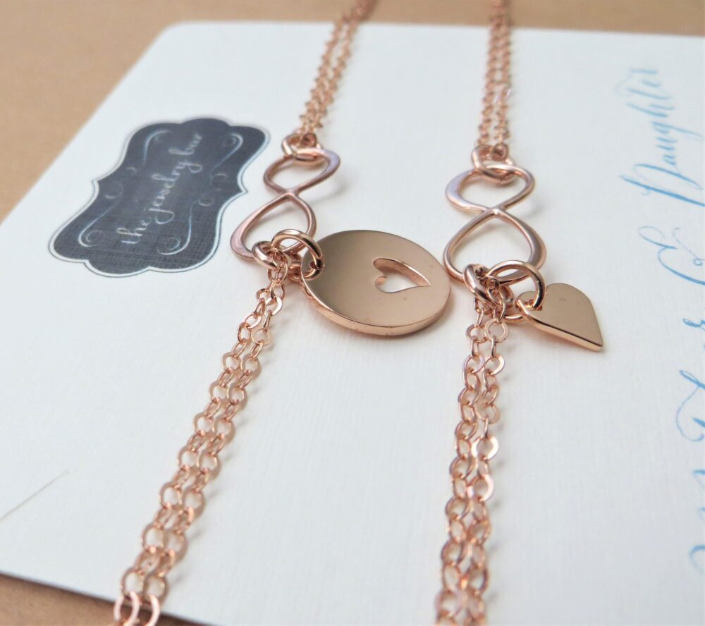 Mom Wedding Gift From Daughter, Rose Gold Mother Daughter Infinity Bracelets, Heart Cutout Charm, Mother Of The Bride