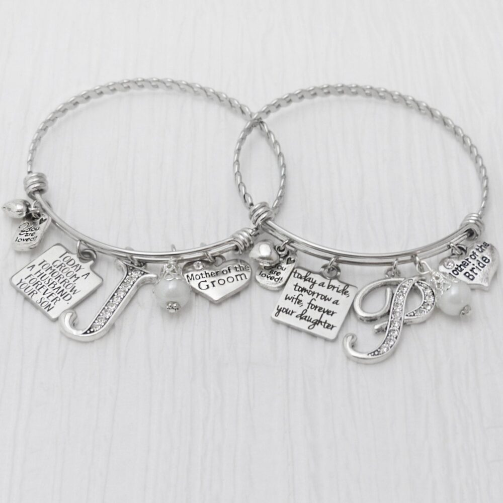 Wedding Gifts For Parents-Mother Of The Groom Gift Mother Bride Gift-Wedding Bracelet-Bridal Party Jewelry-Expandable Bangle Bracelet