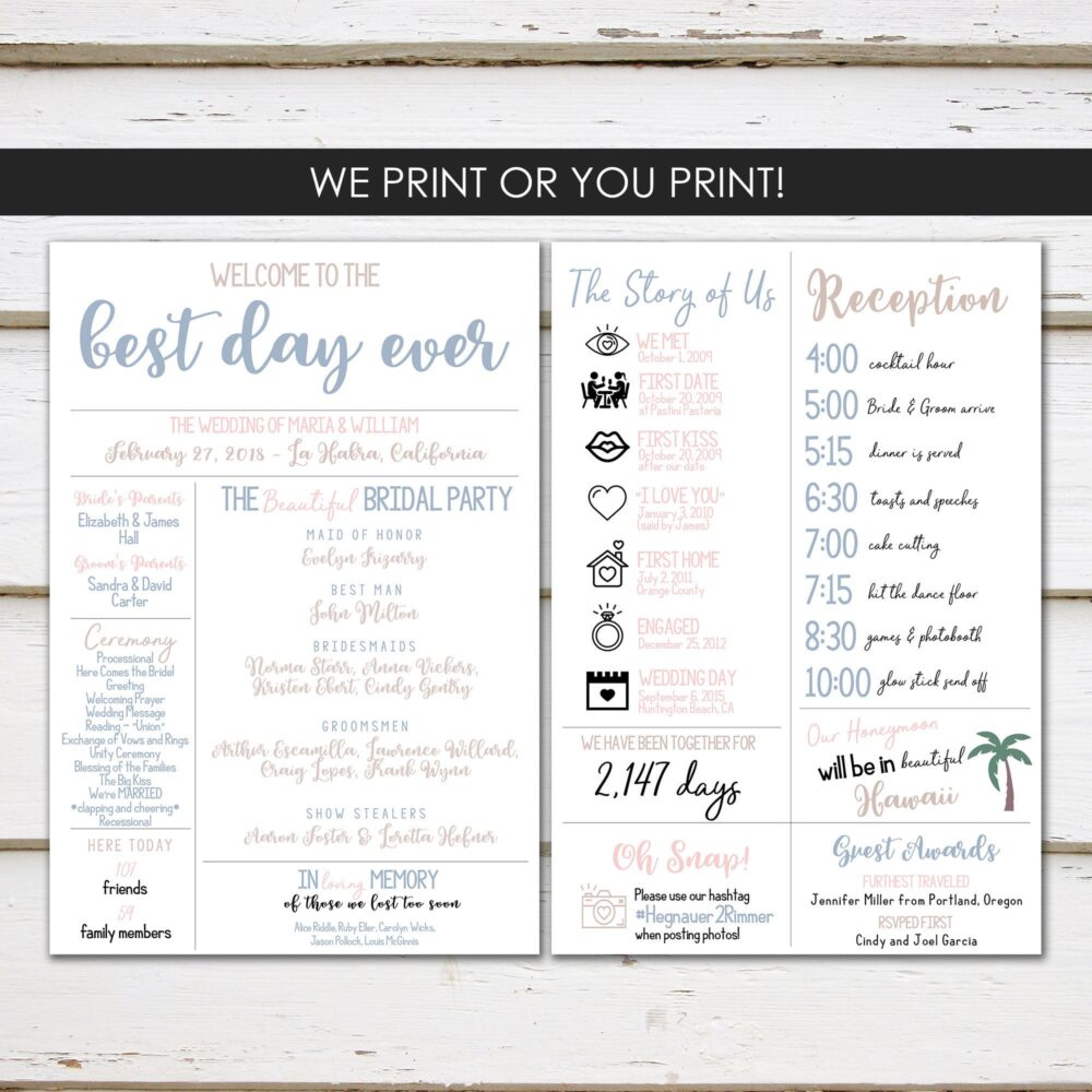 Fun Infographic Wedding Program, Unique Modern Entertaining, Facts, Printable Or Printed, Mb330