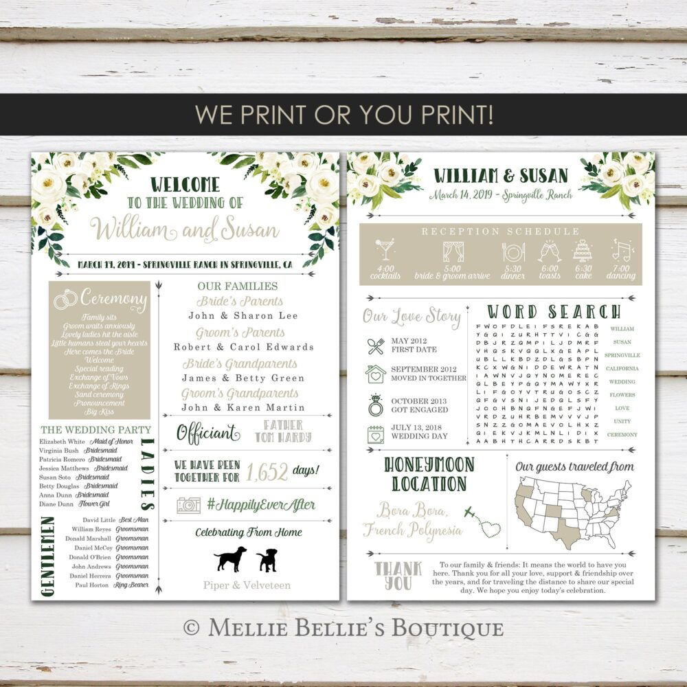 Fun Infographic Wedding Program, Unique Modern White Floral, Facts, Printable Or Printed, Mb447