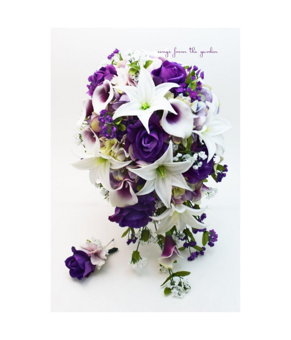 Purple Cascade Wedding Bouquet - Picasso Callas Real Touch Roses Tiger Lilies Lavender Hydrangea Add A Groom's Boutonniere & More