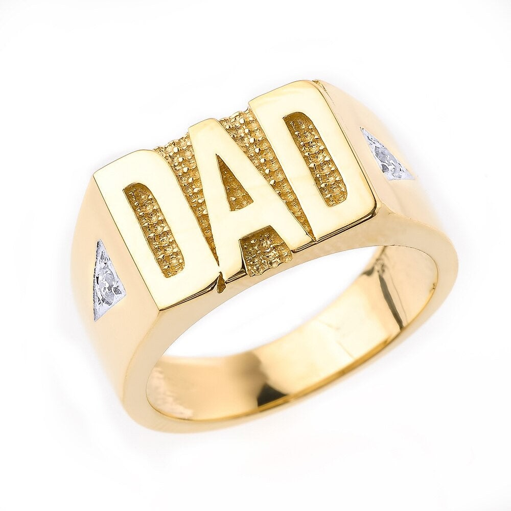 Solid Yellow Gold Ring, Men's Ring With Diamond, Diamond Dad Dad Jewelry, Designer Handmade Jewelry, Gift For