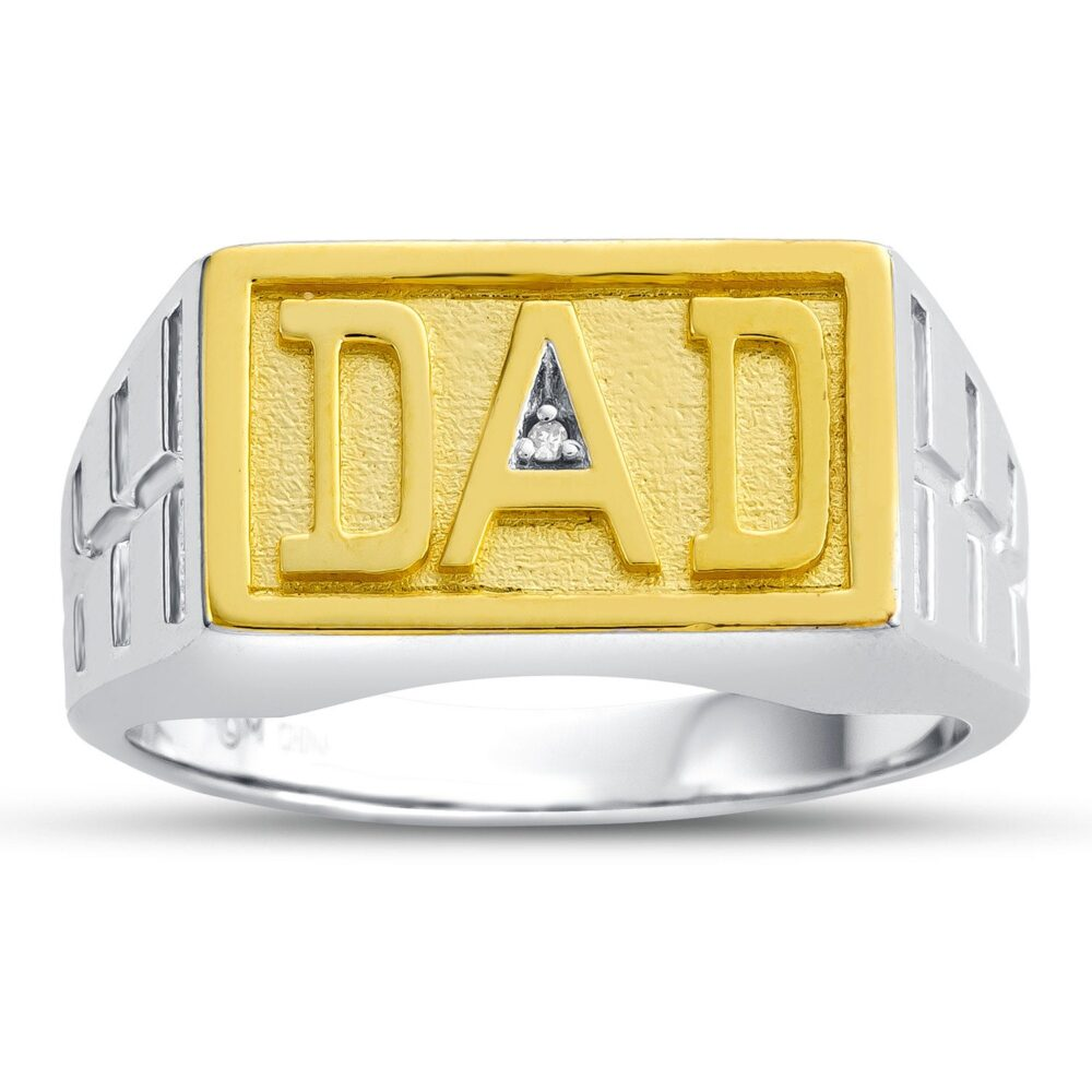 """Dad Signet Ring For Ring, Two Tone Sterling Silver Gift Father Diamond """"Dad"""""""