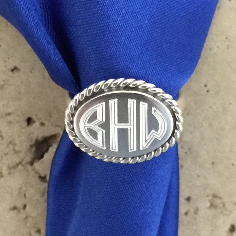 sterling Silver Monogram Ring Oval By Tijc 08037