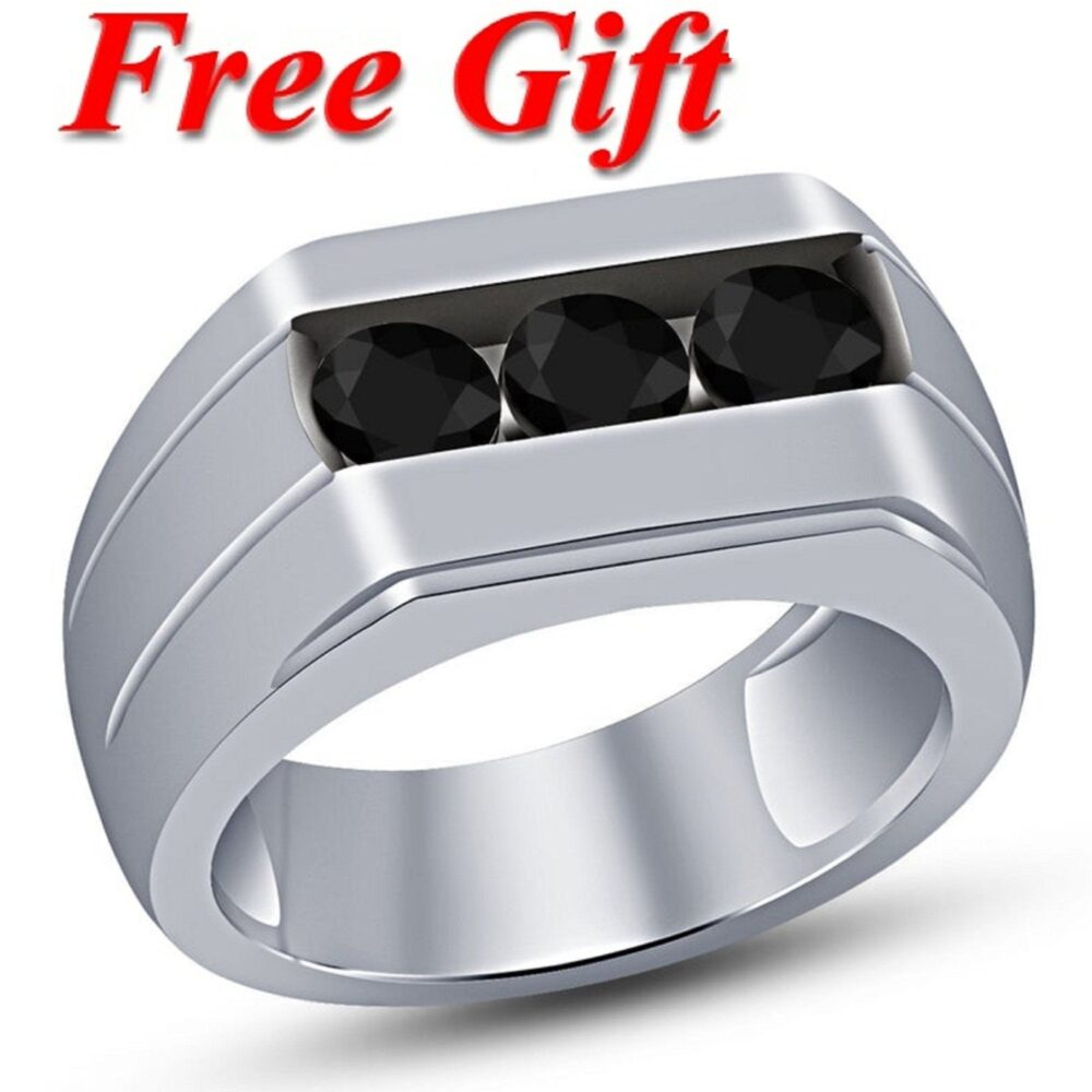 Fathers Day Special Offer 3 Stone Anniversary Band Men's 14K White Gold Finish Black Diamond Wedding Ring 925 Sterling Silver