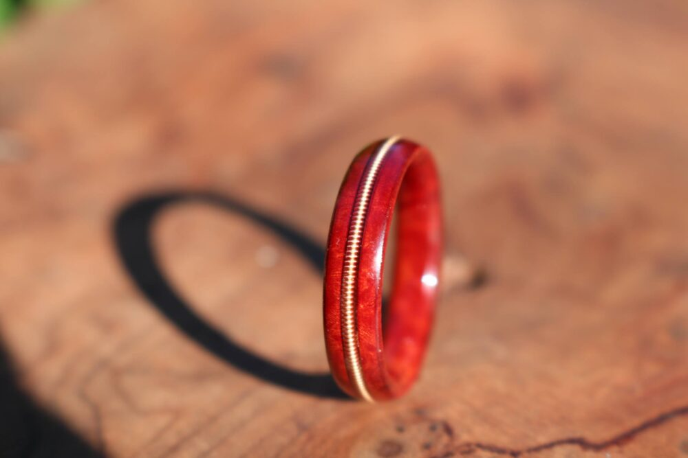 Personalized Wooden Wedding Bands, Burl Wood Wedding Band Ring, Redwood Ring, Bronze Guitar String Inlay, Wood Ring