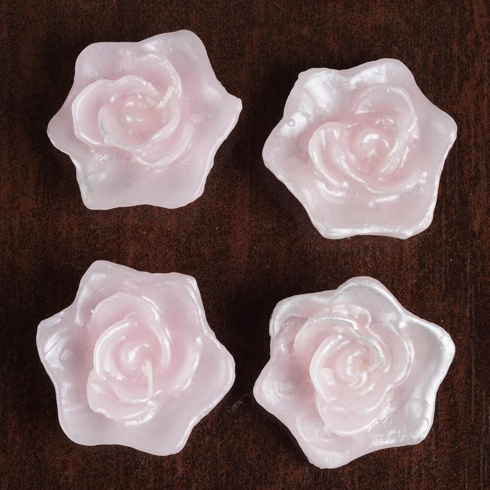 Pink Rose Flower Floating Candles, Candles For Table Decor, Home Candle Gift, Party Favors - 4 Pack