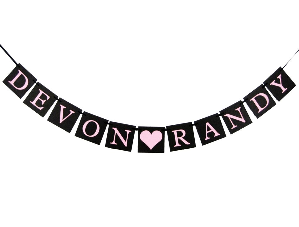 Personalized Couples Name Banner, Custom Engagement Party Sign, Wedding Photo Prop Garland, Bridal Shower Decorations, Bachelorette Bunting