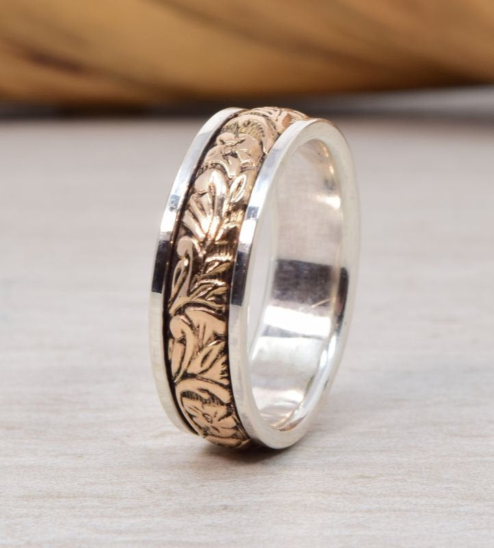 Floral Silver 14K Gold Wedding Band // Mens Womens