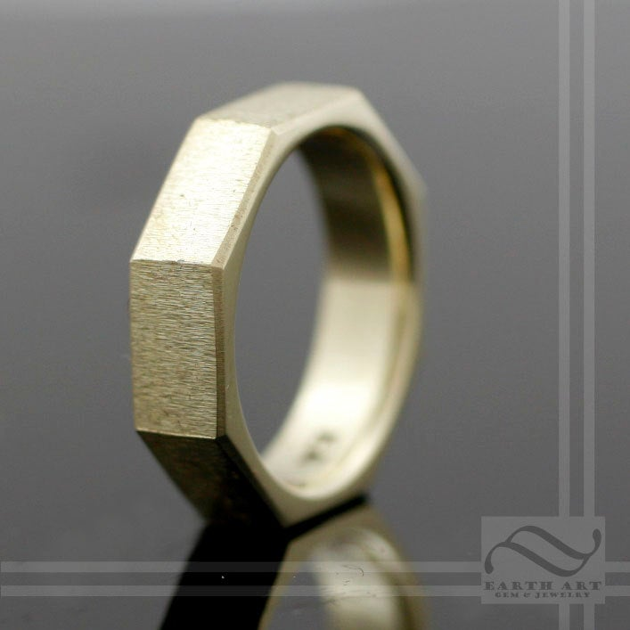 8 Sided Wedding Band - The Golden Octagon 14K Yellow, Rose Or White Gold Brushed Finish, Modern Mens Band