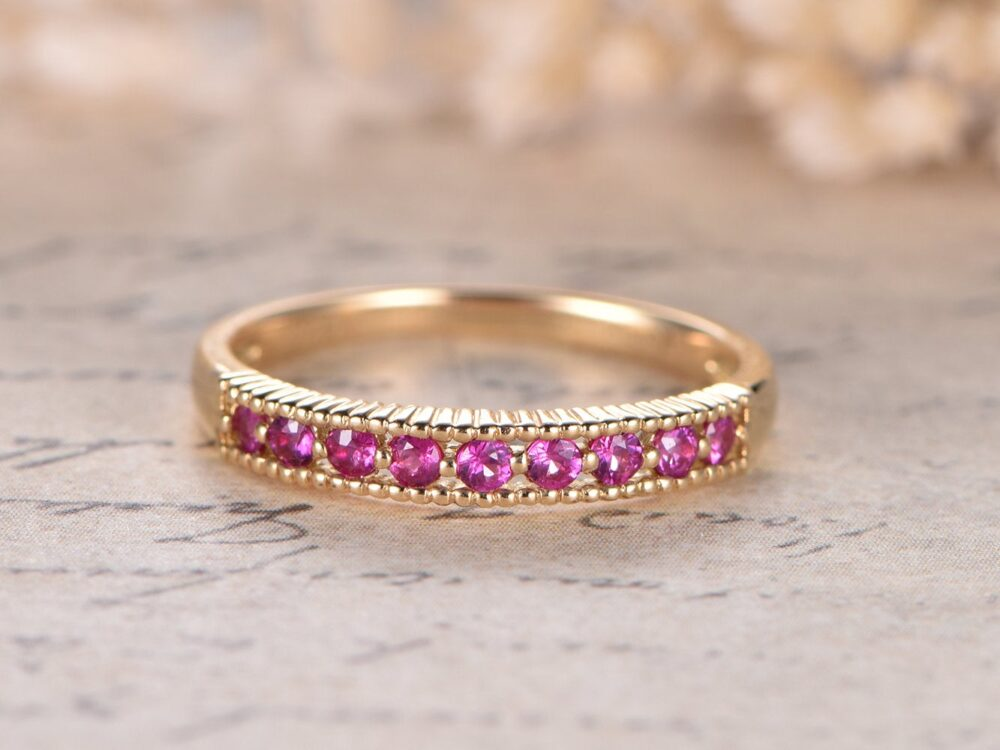 Ruby Engagement Ring Pave Wedding Band Stacking Match Bridal Solid 14K White Gold Women