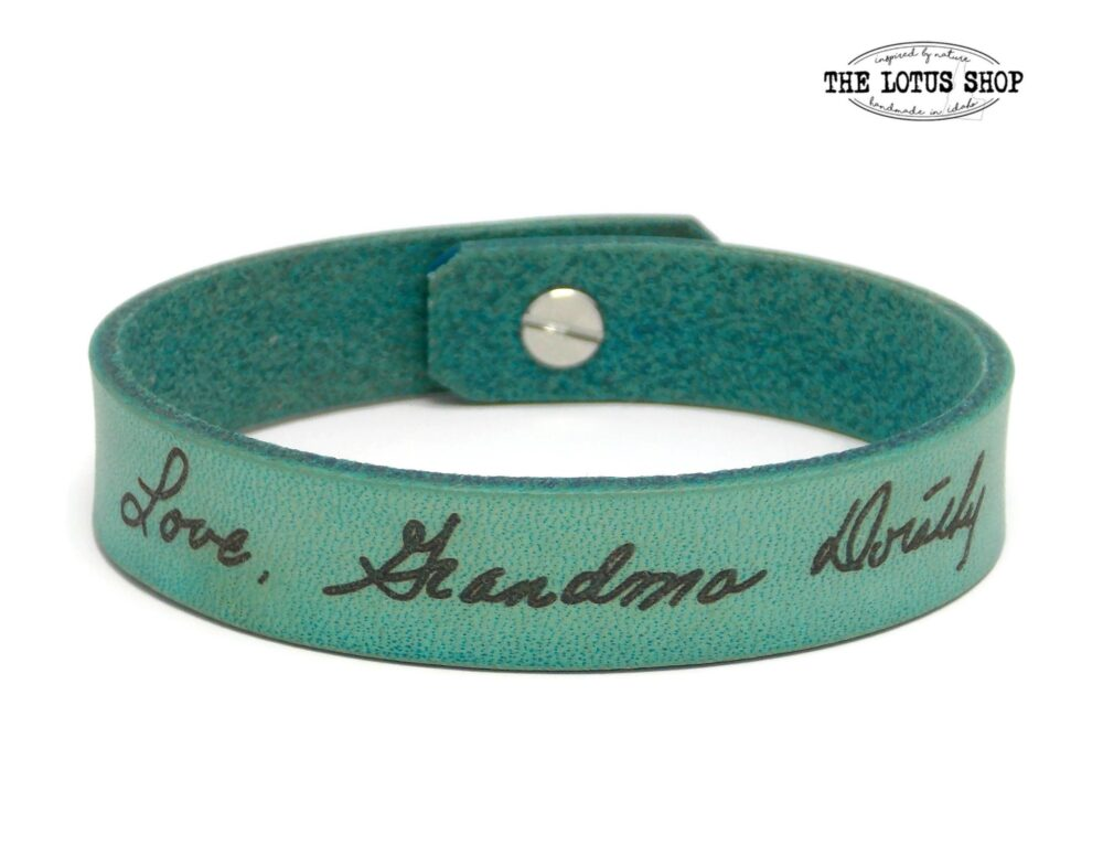 Signature Bracelet, Your Actual Handwriting Laser Engraved On Our Handmade Leather Meaningful Gift From A Loved Ones