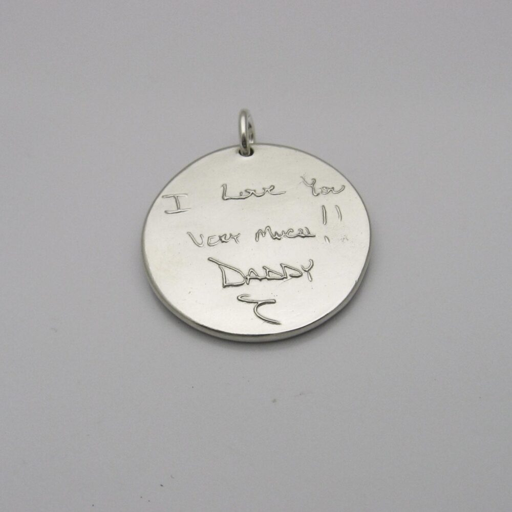 Handwriting Jewelry, Sterling Silver Pendant, Custom Engraved Name Signature Memorial Sympathy Gift