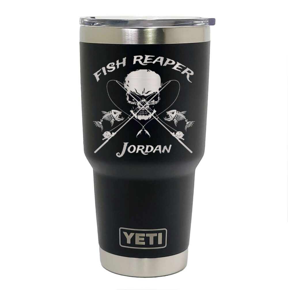 Yeti Black Stainless Steel Tumbler Laser Engraved 20 Or 30 Oz. - Personalized Fish Reaper, Fishing