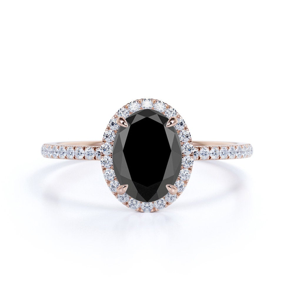 Oval Black Diamond Engagement Ring in 14K Rose Gold, Unique Wedding Ring, Halo Silver Birthday Gift