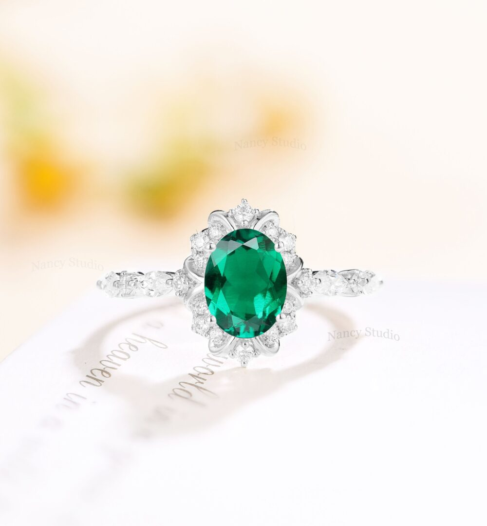 Vintage Engagement Ring Oval Emerald Solid Antique White Gold Engagement Anniversary Ring Unique Marquise Diamond