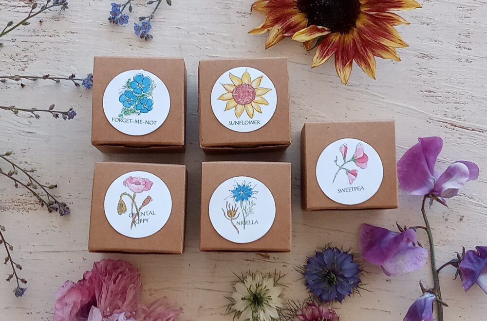 Flower Wedding Favors - Set Of 5 Mini Garden Kits With Flower Seeds, Party Favor, Eco Friendly Gift Seed Kit, Custom