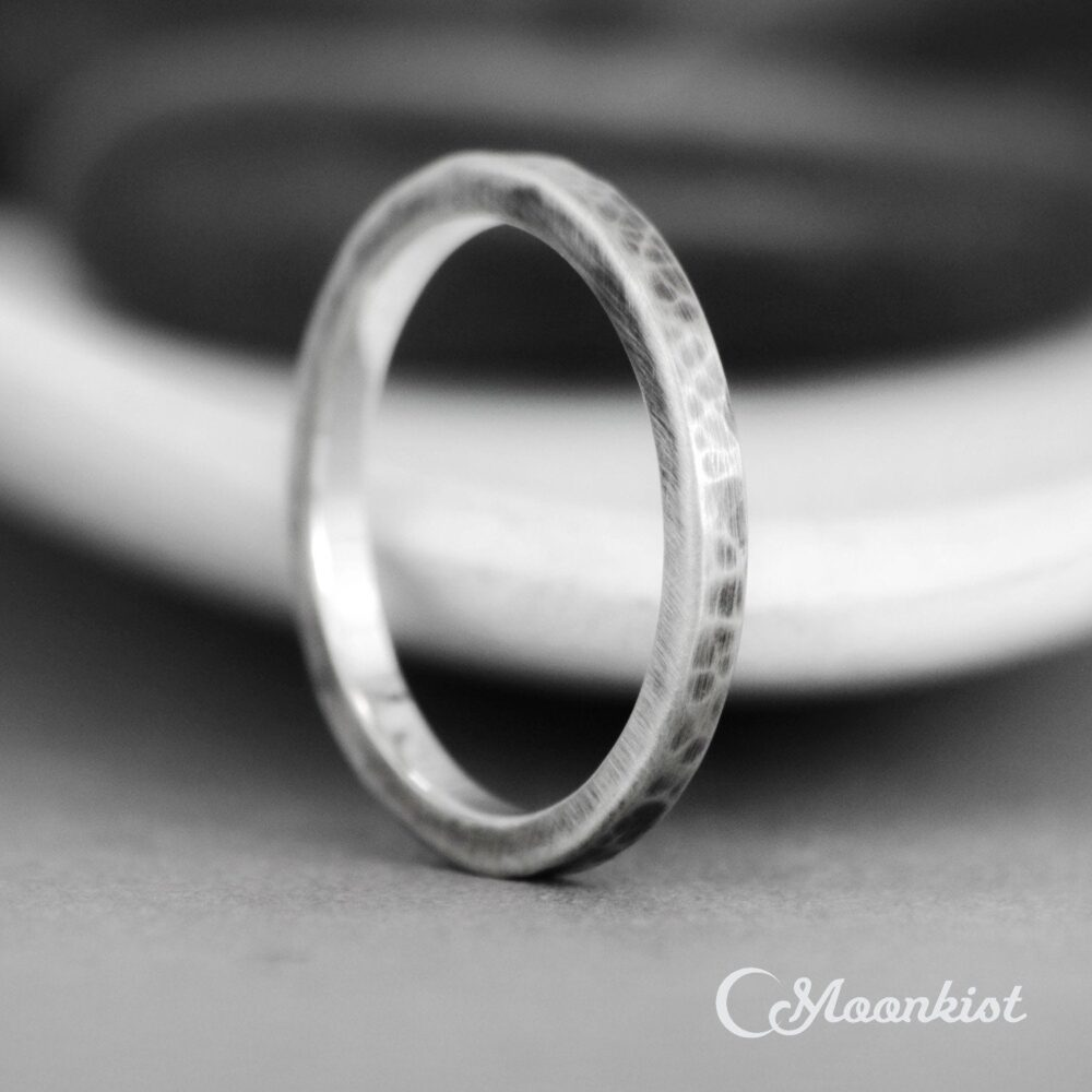 Square Hammered Band Ring, Simple Thin Stacking Sterling Silver, Unisex Narrow Wedding Engraveable Ring   Moonkist Gallery