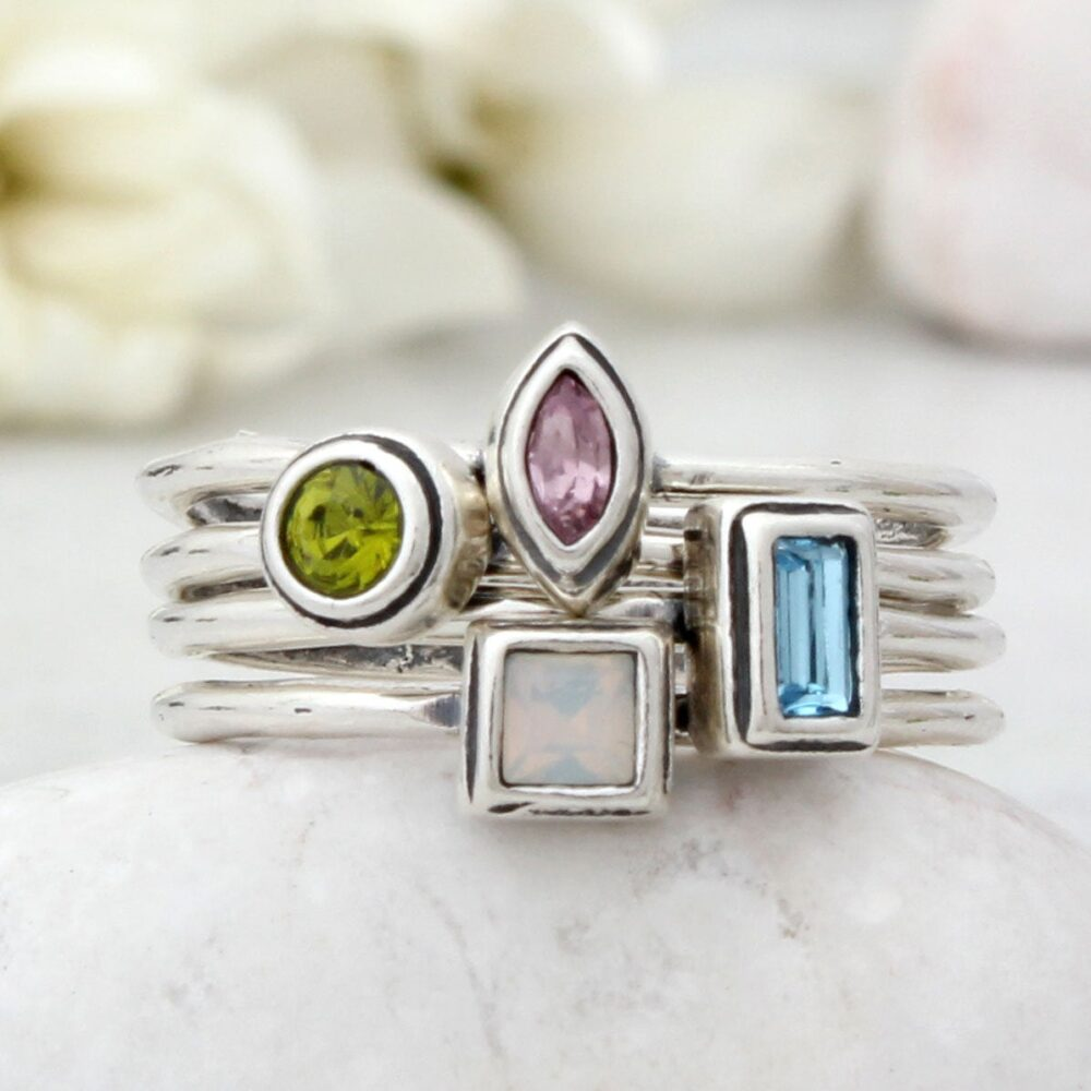 Set Of 4 Silver Stacking Family Birthstone Rings • Perfect For A Four Mothers Gift Gemstone Minimalist