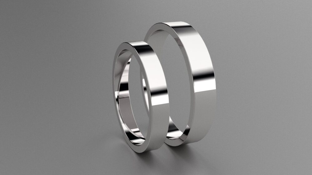 Silver 3mm & 4mm His & Hers Flat Wedding Band Set, 925 Sterling Silver, Mens Ladies Matching Rings, Minimalist Bands
