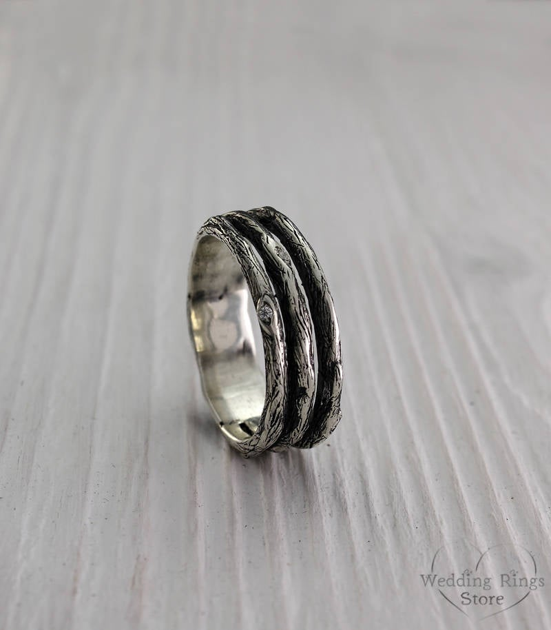 Tree Unique Silver Wedding Band, Men's Branch Ring, Womens Tree Nature Wide Silver Ring