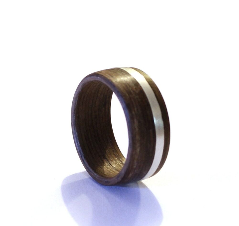 Mens Ring, Wood Wedding Sterling Silver Wide Band With Inlay