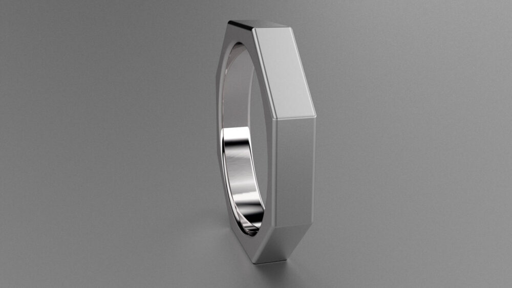 Silver 4mm Brushed Mens Wedding Band, Octagon 925 Sterling Ring, Mechanic Clean Sharp Looking Nut & Bolt Ring Band